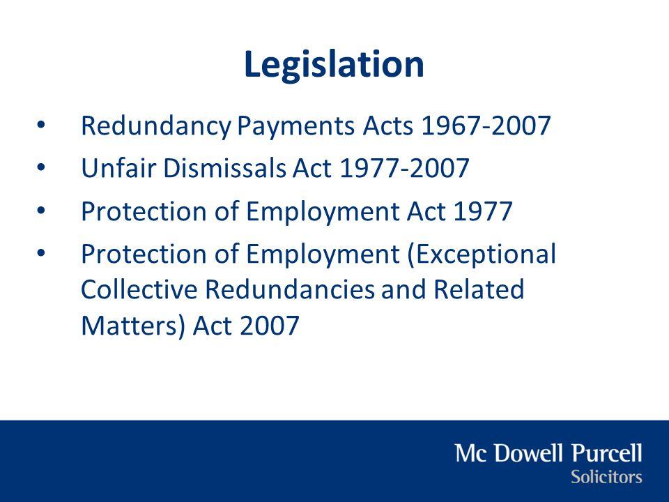 Legislation Redundancy Payments Acts 1967-2007