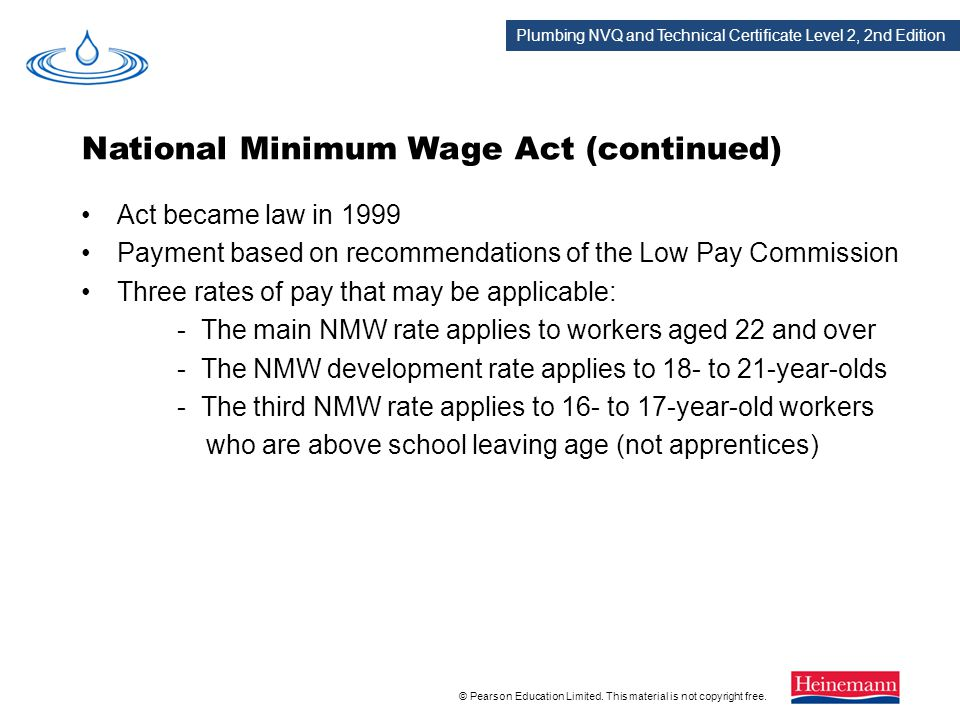 National Minimum Wage Act (continued)