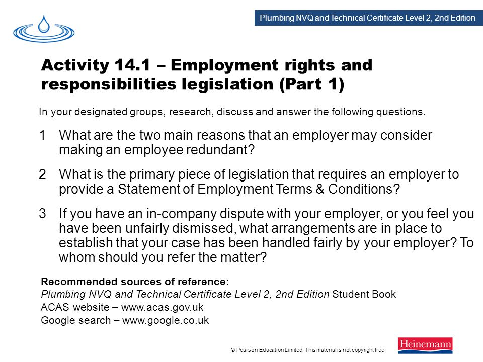 Activity 14.1 – Employment rights and responsibilities legislation (Part 1)