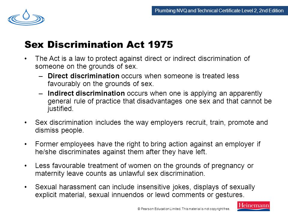 Sex discrimination act 1975 summary