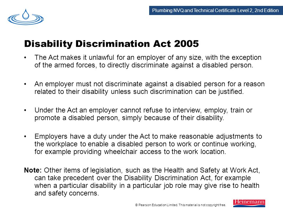 disability discrimination employment law essay The disability discrimination act (dda) 1995 why was it introduced employment access to goods facilities and services buying or renting land and property who does it cover related as and a level sources of law essays.