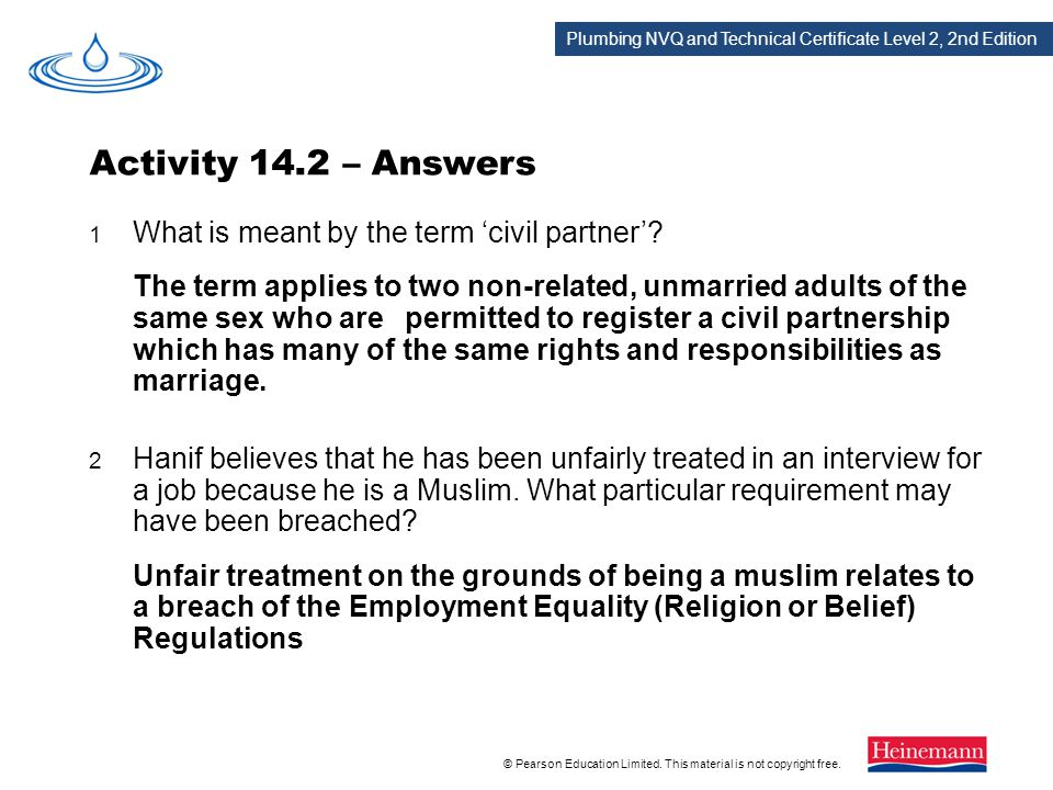 Activity 14.2 – Answers 1 What is meant by the term 'civil partner'