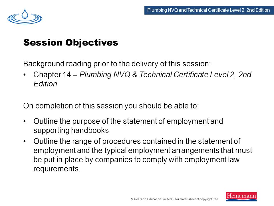 Session Objectives Background reading prior to the delivery of this session: Chapter 14 – Plumbing NVQ & Technical Certificate Level 2, 2nd Edition.