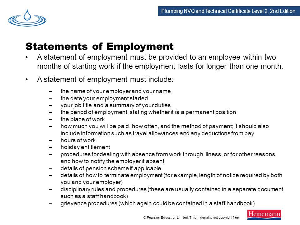 Statements of Employment