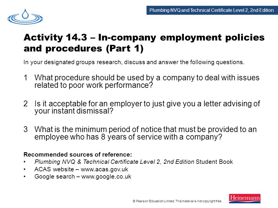 Activity 14.3 – In-company employment policies and procedures (Part 1)