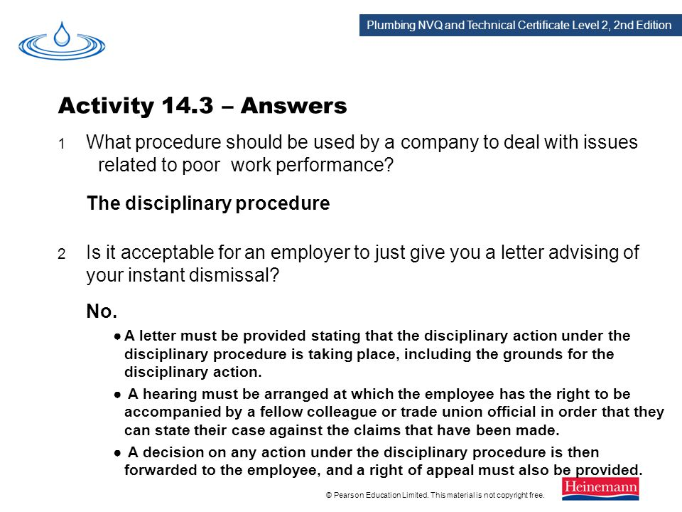 Activity 14.3 – Answers The disciplinary procedure No.