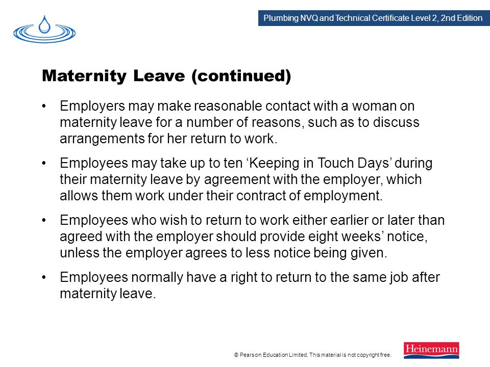 Maternity Leave (continued)