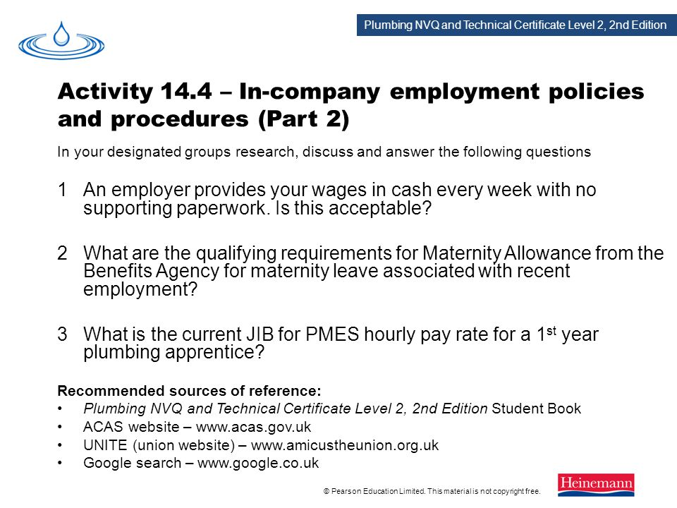 Activity 14.4 – In-company employment policies and procedures (Part 2)