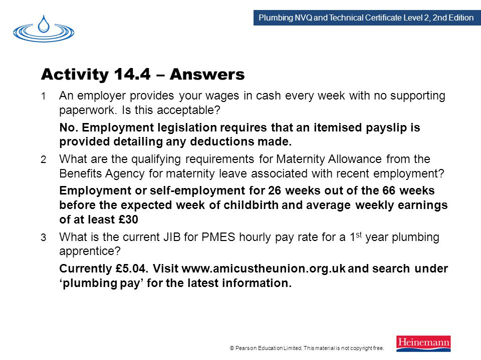 Activity 14.4 – Answers 1 An employer provides your wages in cash every week with no supporting paperwork. Is this acceptable