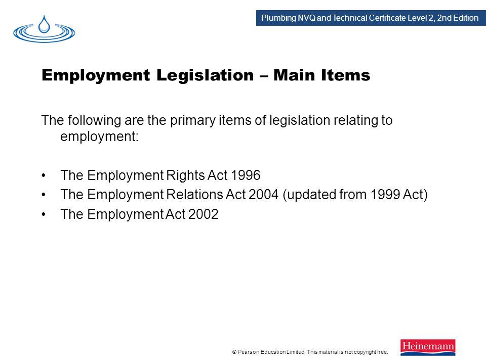 Employment Legislation – Main Items