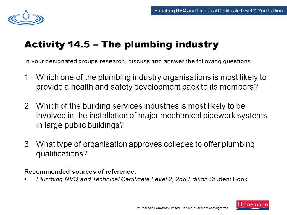 Activity 14.5 – The plumbing industry