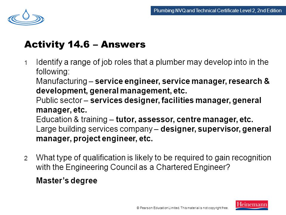 Activity 14.6 – Answers 1 Identify a range of job roles that a plumber may develop into in the following: