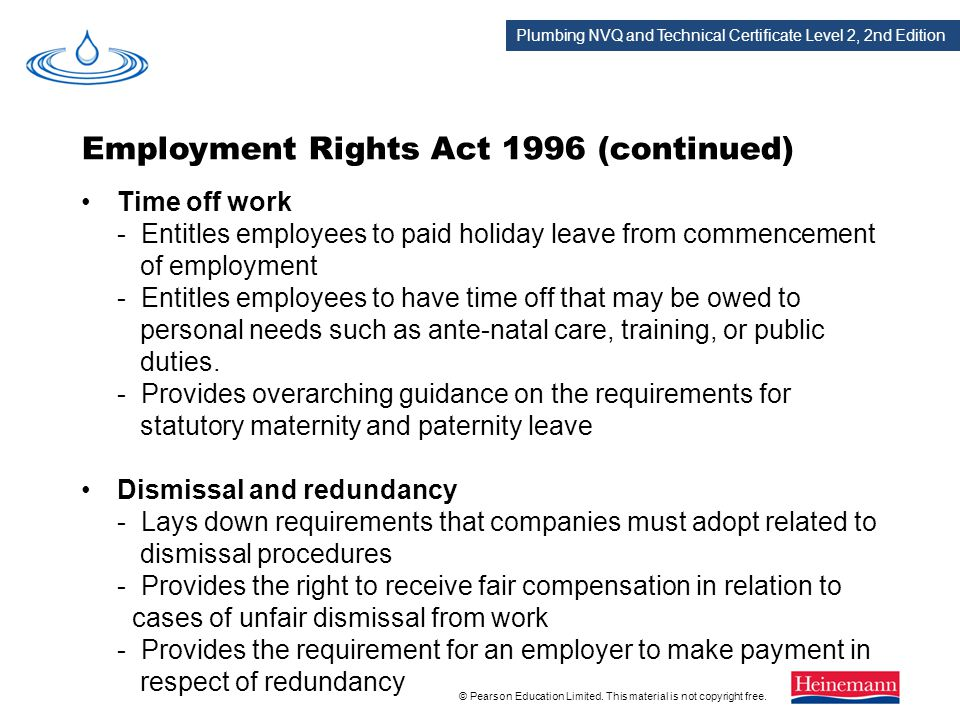 Employment Rights Act 1996 (continued)