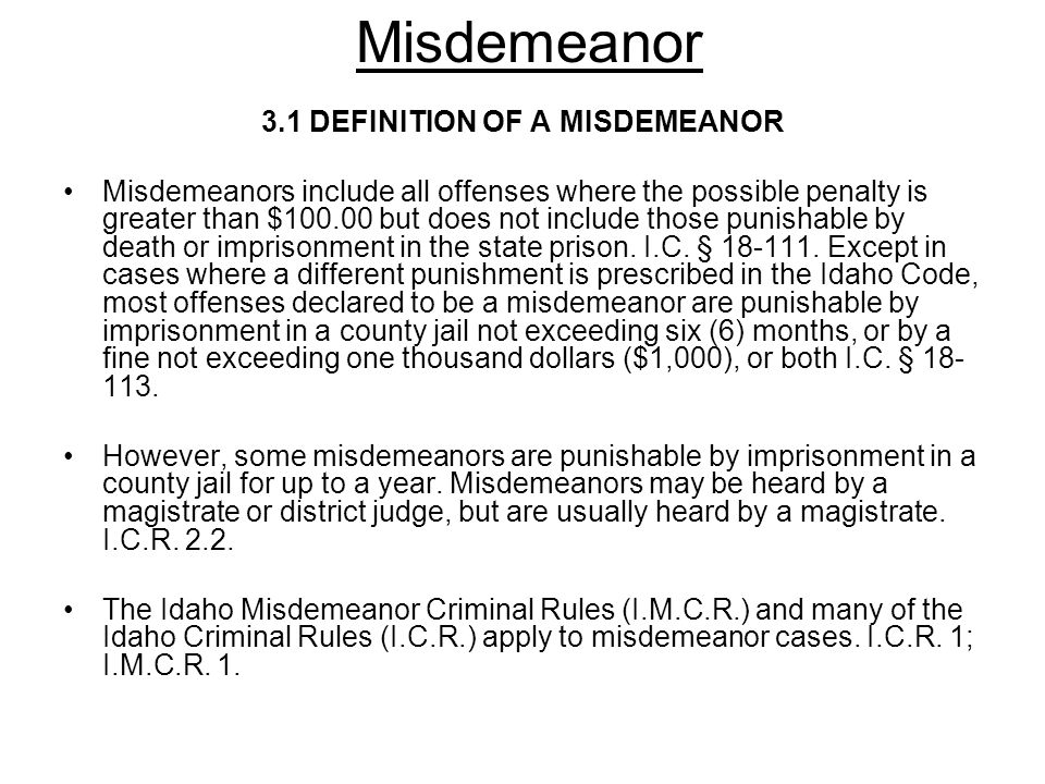 3.1 DEFINITION OF A MISDEMEANOR