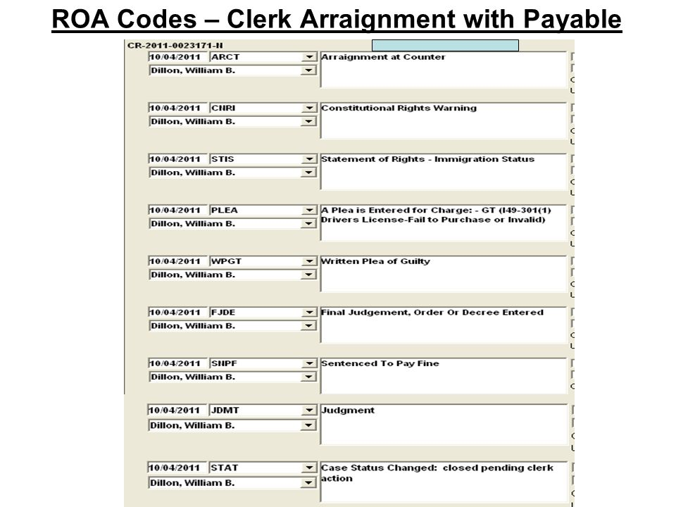 ROA Codes – Clerk Arraignment with Payable