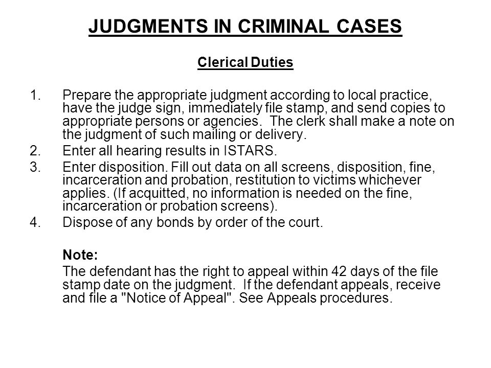 JUDGMENTS IN CRIMINAL CASES