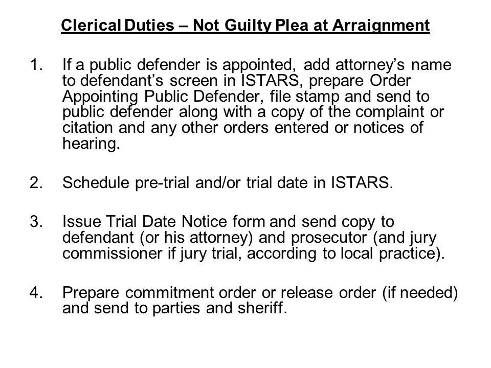 Clerical Duties – Not Guilty Plea at Arraignment