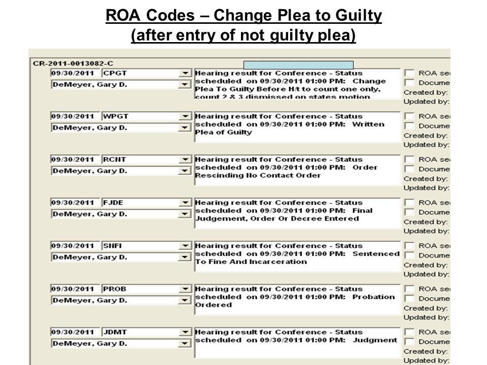 ROA Codes – Change Plea to Guilty (after entry of not guilty plea)