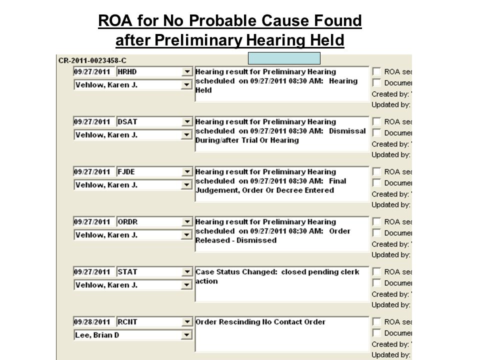 ROA for No Probable Cause Found after Preliminary Hearing Held