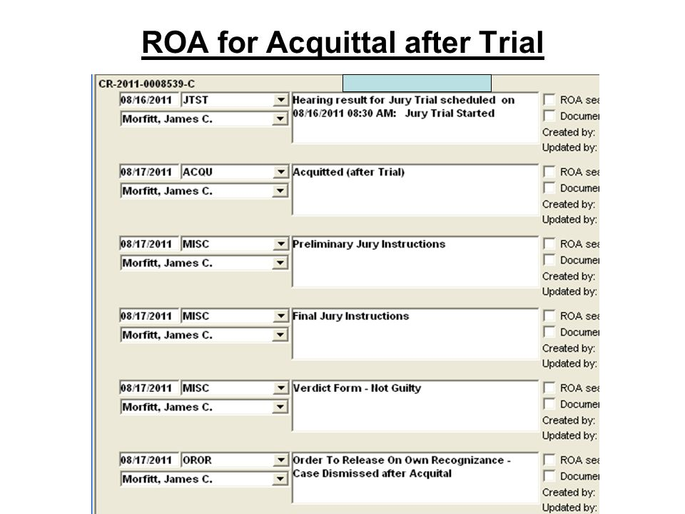 ROA for Acquittal after Trial