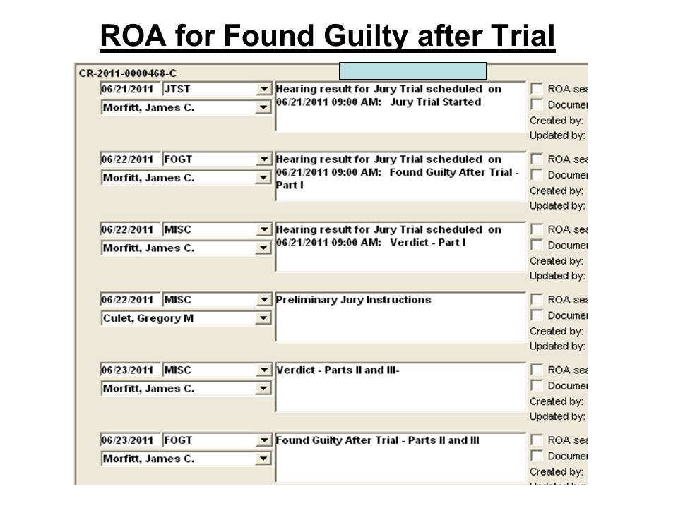 ROA for Found Guilty after Trial