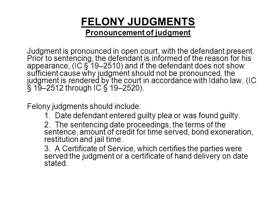 Pronouncement of judgment