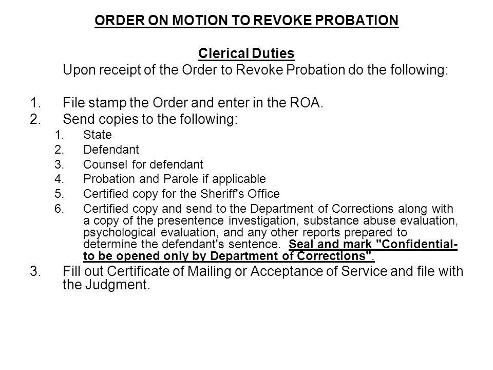ORDER ON MOTION TO REVOKE PROBATION