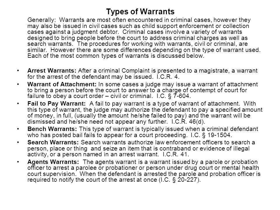Types of Warrants