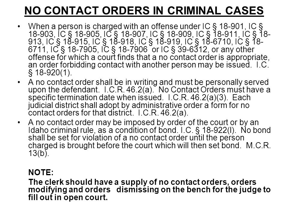 NO CONTACT ORDERS IN CRIMINAL CASES