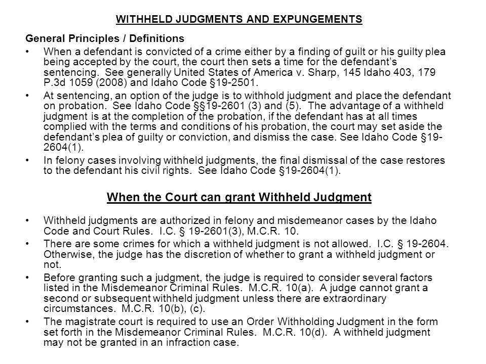 When the Court can grant Withheld Judgment