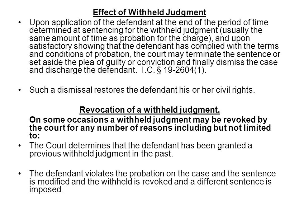 Revocation of a withheld judgment.