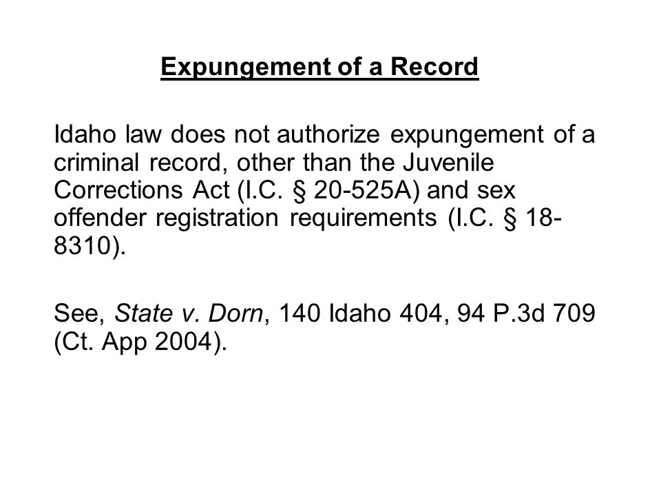 Expungement of a Record