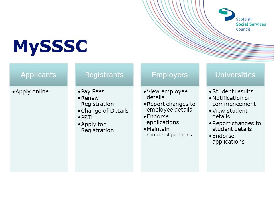 MySSSC Applicants Registrants Employers Universities Apply online
