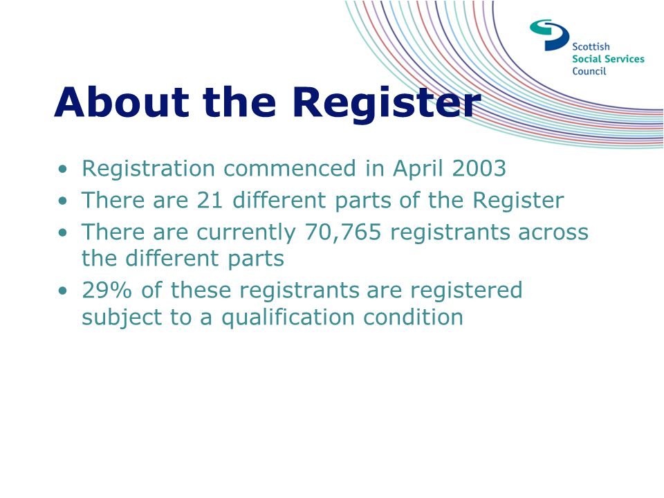 About the Register Registration commenced in April 2003