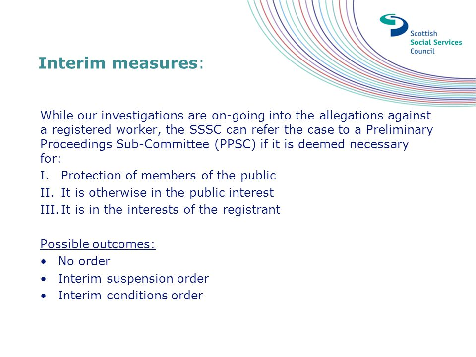 Interim measures: