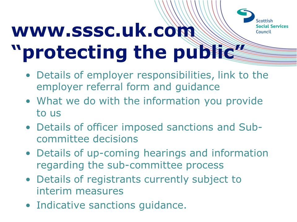 www.sssc.uk.com protecting the public