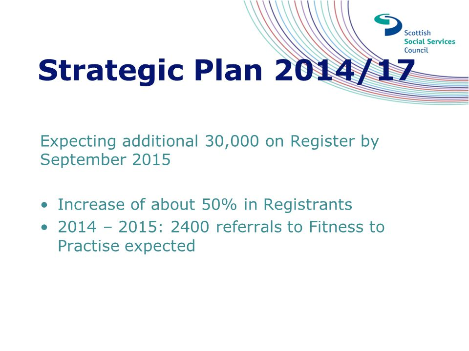 Strategic Plan 2014/17 Expecting additional 30,000 on Register by September 2015. Increase of about 50% in Registrants.