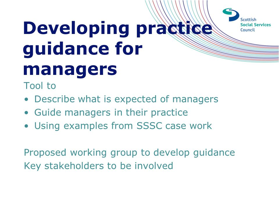 Developing practice guidance for managers