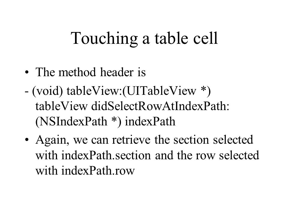 Touching a table cell The method header is