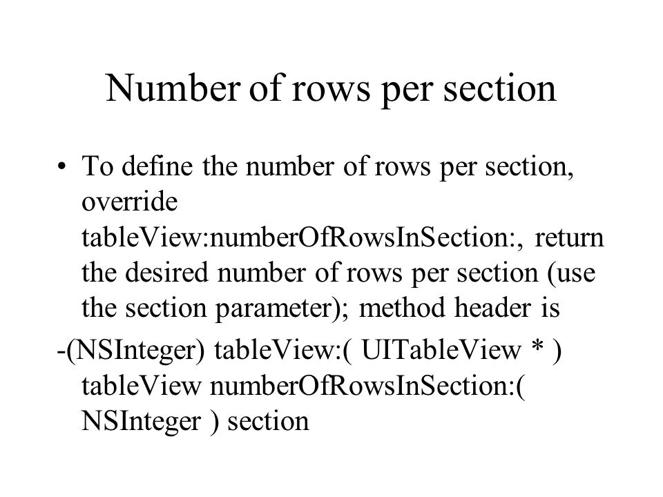 Number of rows per section