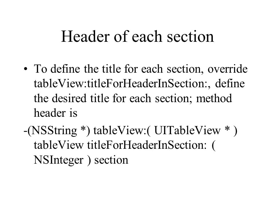 Header of each section