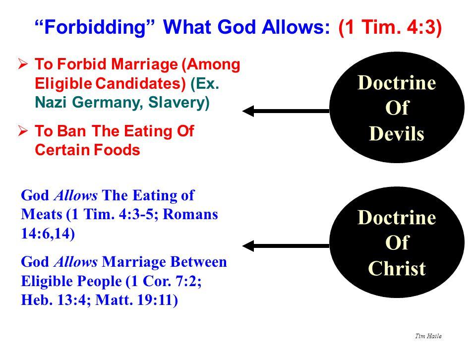 Forbidding What God Allows: (1 Tim. 4:3)