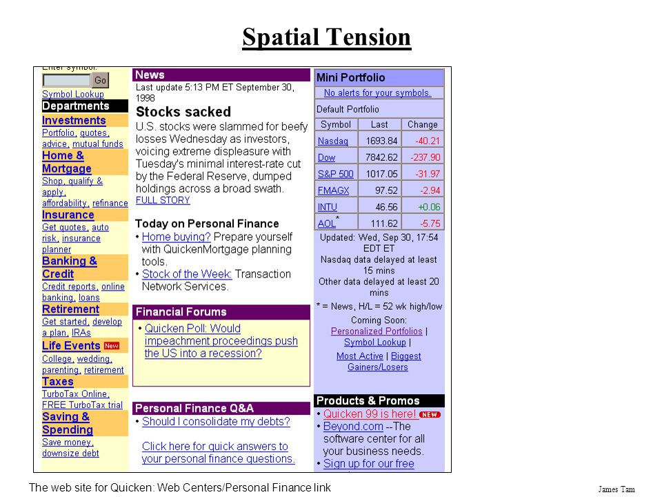 Spatial Tension The web site for Quicken: Web Centers/Personal Finance link