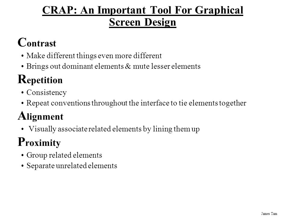CRAP: An Important Tool For Graphical Screen Design
