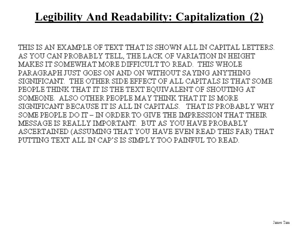 Legibility And Readability: Capitalization (2)