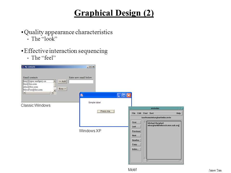 Graphical Design (2) Quality appearance characteristics