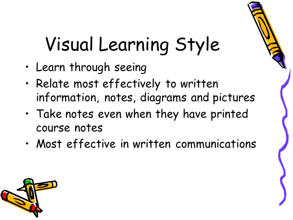 Visual Learning Style Learn through seeing
