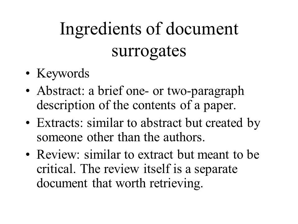 Ingredients of document surrogates
