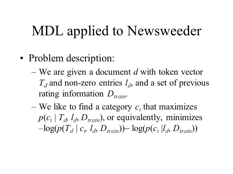 MDL applied to Newsweeder
