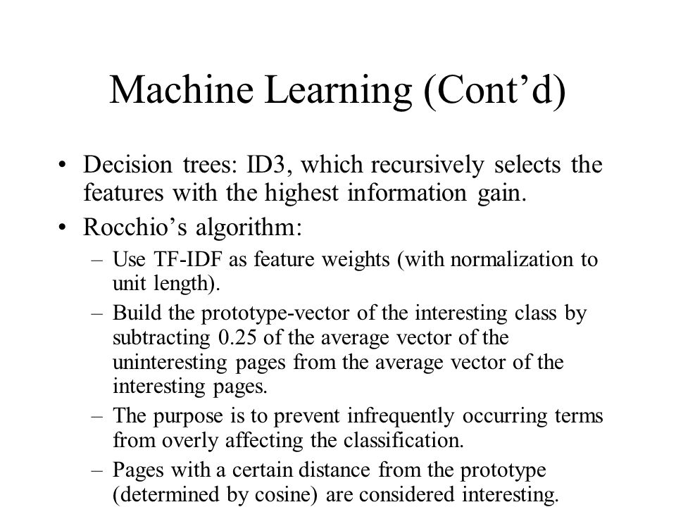 Machine Learning (Cont'd)